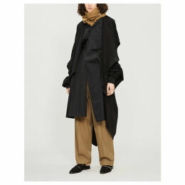 Layered asymmetric cotton coat
