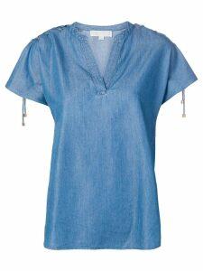 Michael Michael Kors ruffled sleeves denim blouse - Blue