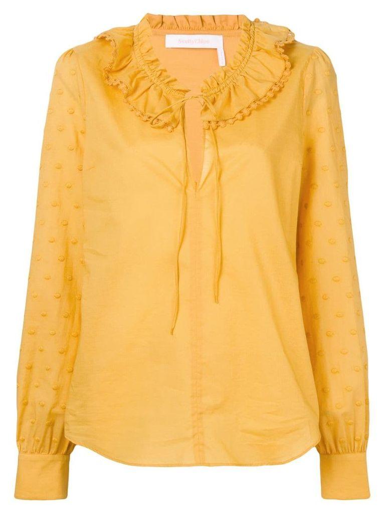See By Chloé ruffle neck shirt - Yellow