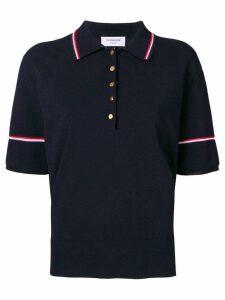 Thom Browne Tipping Stripe Boxy Polo Shirt - Blue