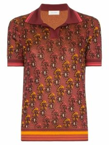 Wales Bonner Floral jacquard knit polo shirt - Red