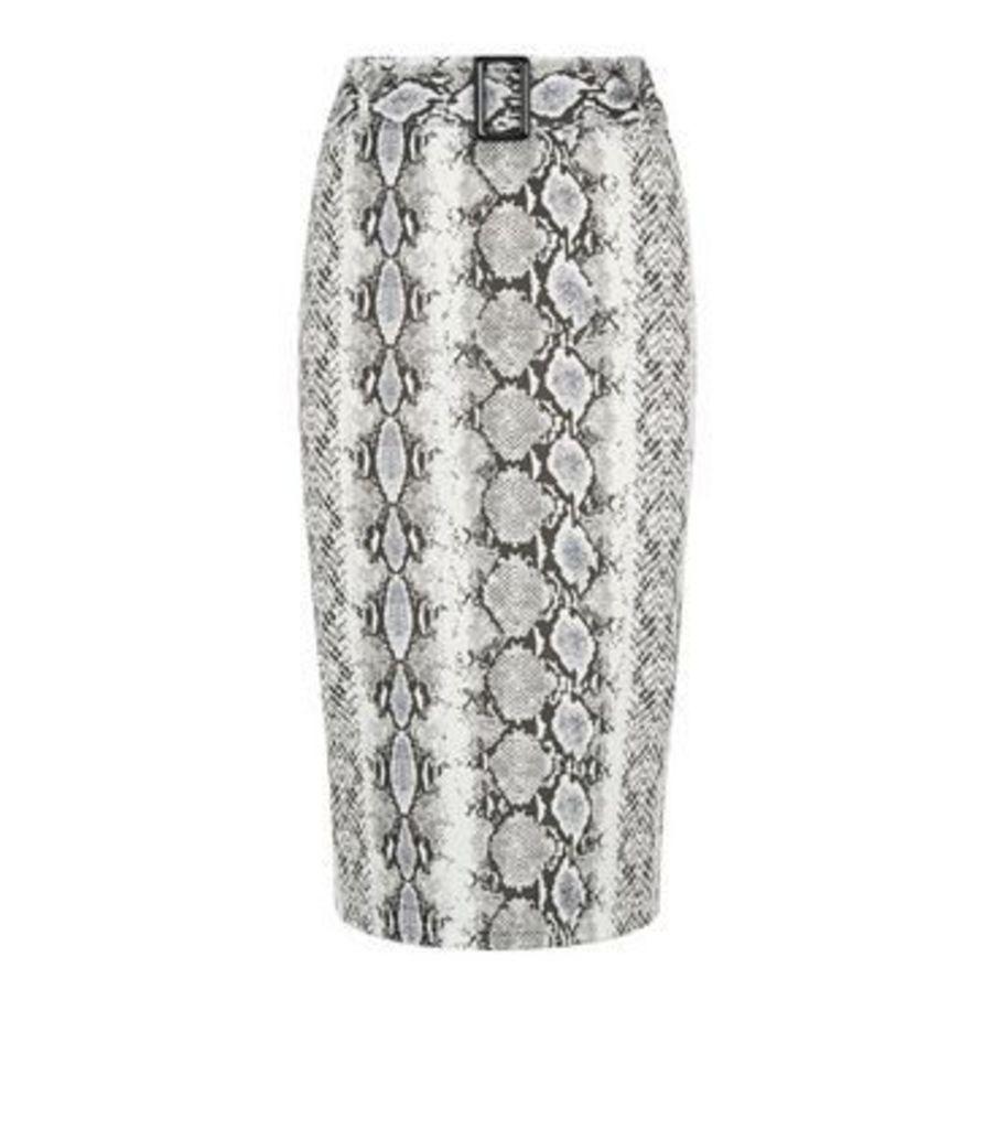 Cameo Rose Light Grey Snake Print Midi Skirt New Look