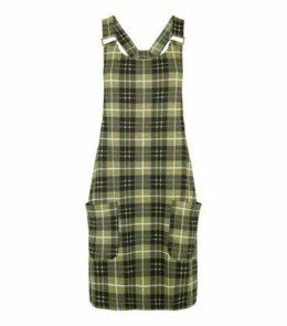 Tall Yellow Check Pinafore Dress New Look