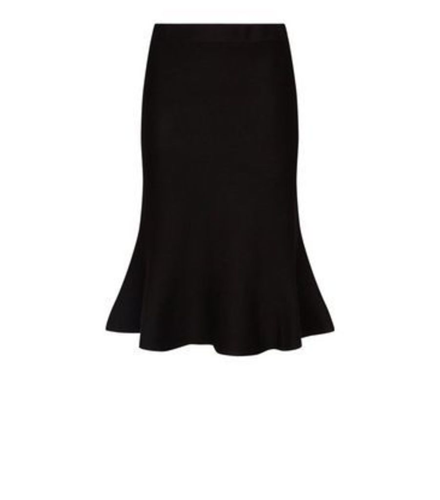 Black Knit Fishtail Hem Midi Skirt New Look