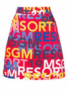 MSGM logo print mini skirt - Red