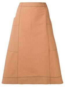 Cédric Charlier frayed A-line midi skirt - Brown