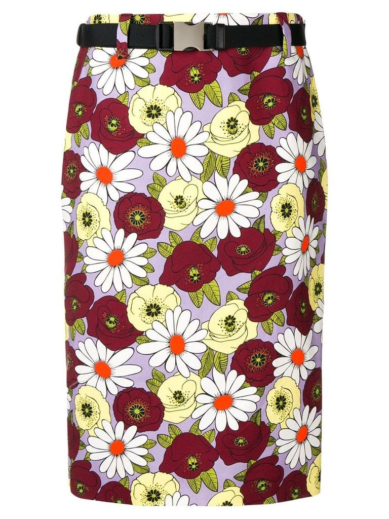 Prada flower print denim skirt - Purple