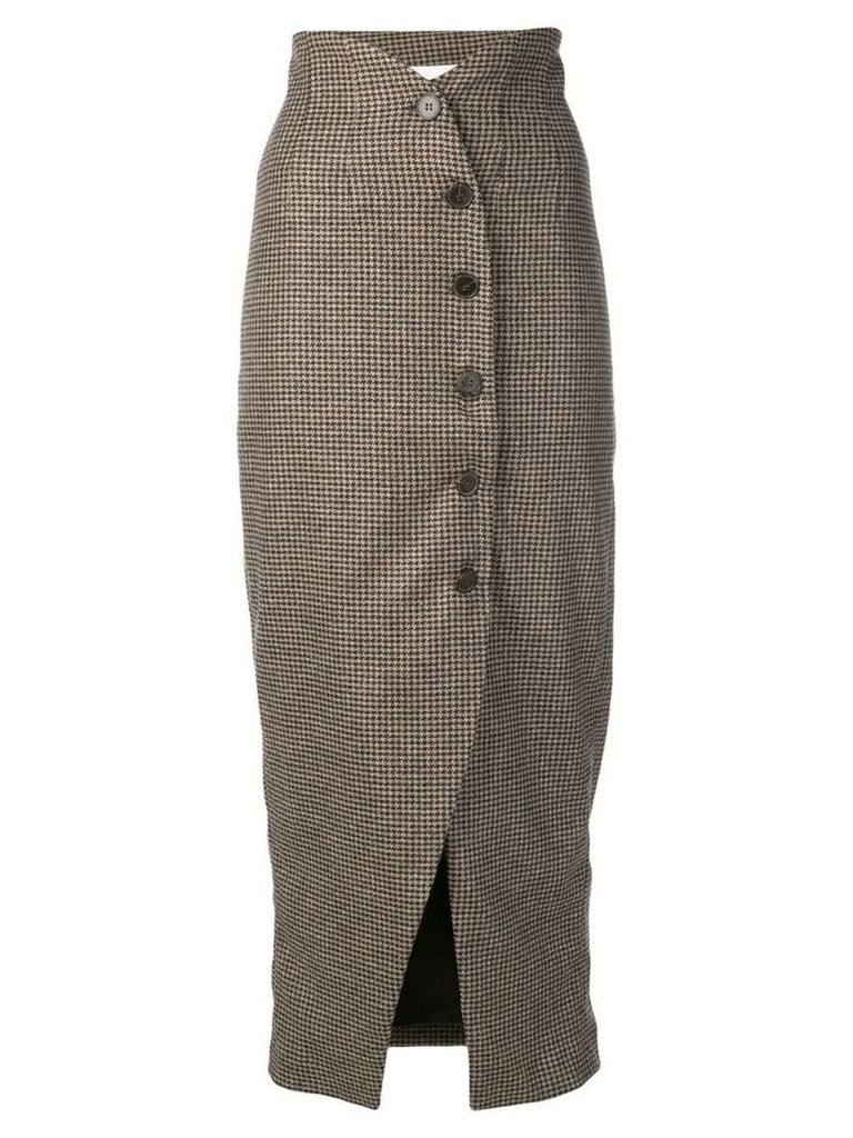 Nanushka houndstooth button skirt - Neutrals