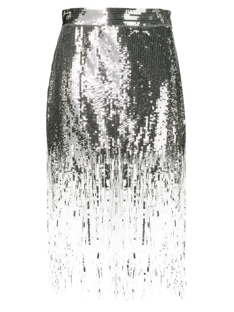MSGM sequin fringed skirt - Silver