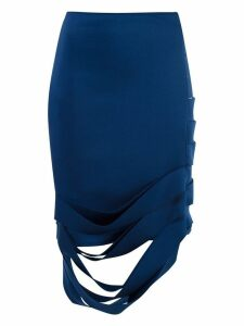 Gloria Coelho asymmetric midi skirt - Blue