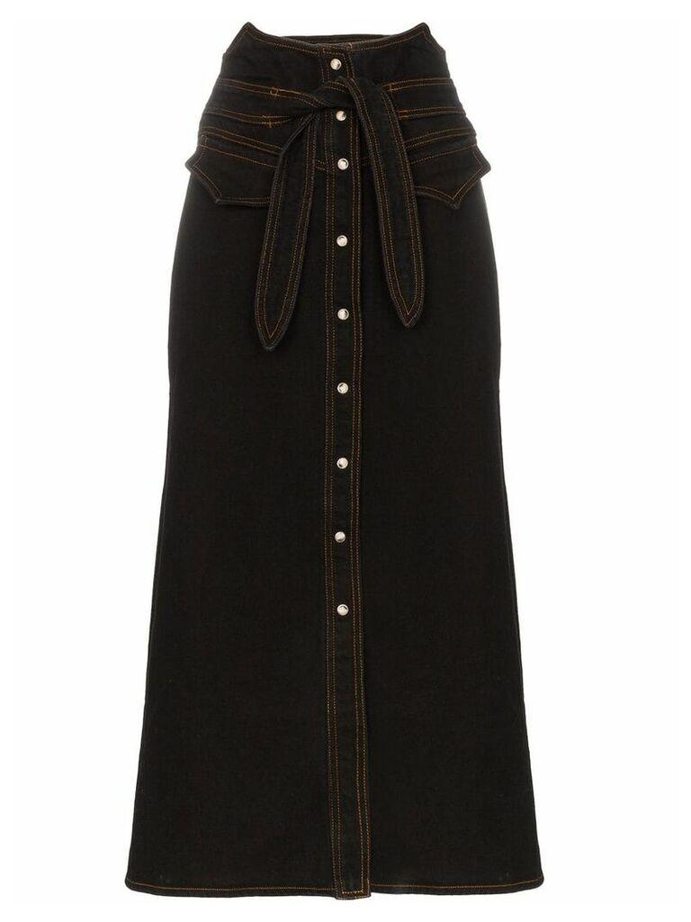 Nanushka Alma tie waist mid-length denim skirt - Black