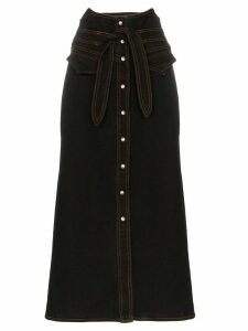 Nanushka Alma tie waist mid-length denim skirt - Black