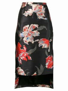 Rochas floral print pencil skirt - Black