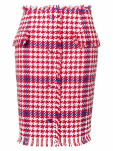 MSGM houndstooth print pencil skirt - White