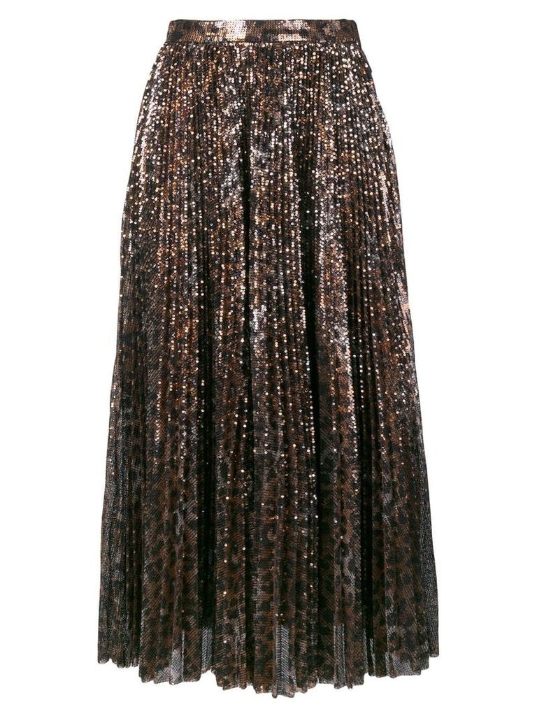 MSGM leopard print glitter skirt - Brown