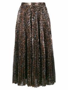 MSGM leopard print glitter skirt - Brown
