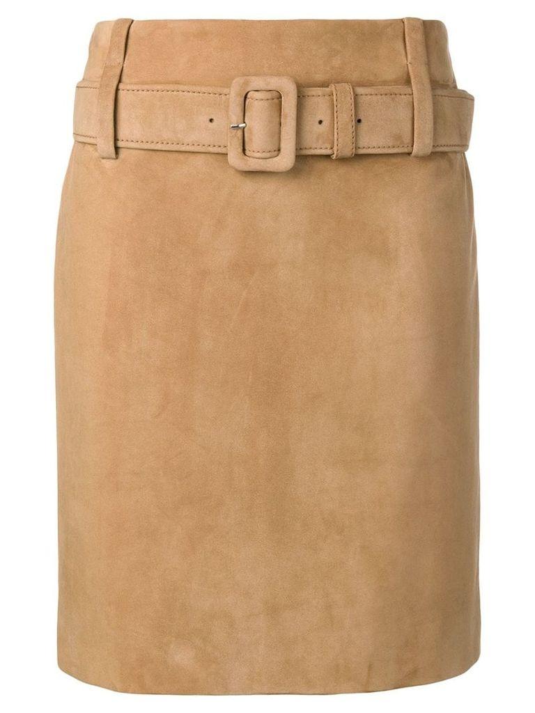 Prada leather straight skirt - Neutrals