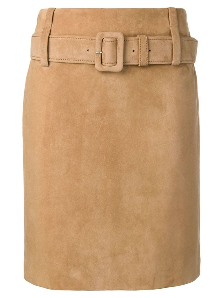 Prada leather straight skirt - Neutrals