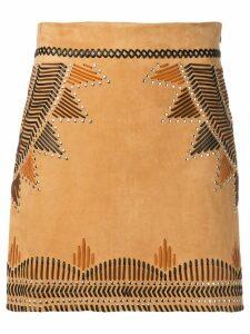 Alberta Ferretti mini leather skirt - Brown