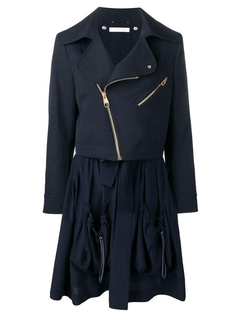 Chloé zipped parka coat - Blue