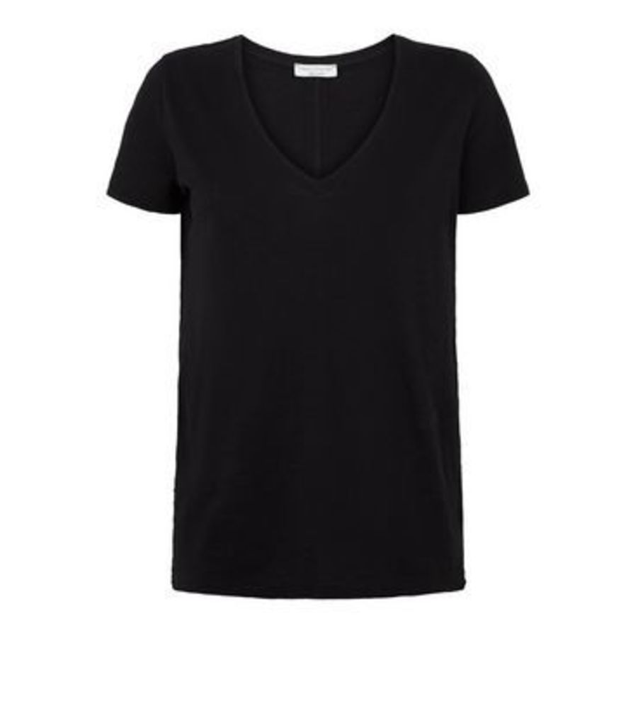 Black Organic Cotton V Neck T-Shirt New Look
