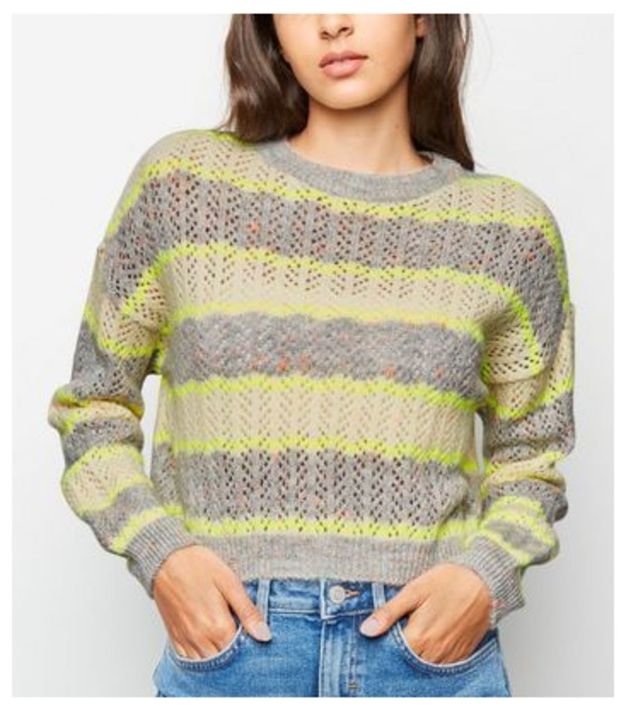 Grey Neon Stripe Pointelle Jumper New Look