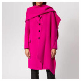 Marc Jacobs Women's Notch Collar Coat w/Hood Scarf - Hot Pink