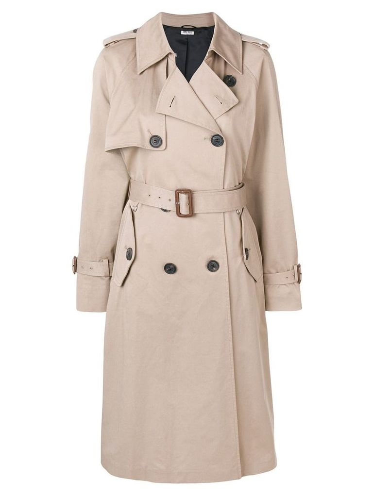 Miu Miu double breasted trench coat - NEUTRALS