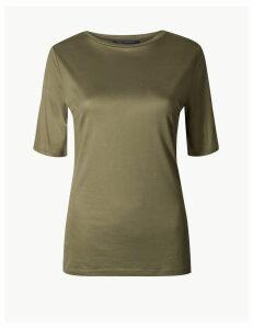 M&S Collection Mercerised Round Neck Regular Fit T-Shirt