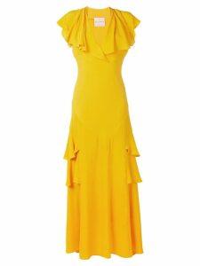 Erika Cavallini long ruffled evening dress - Yellow