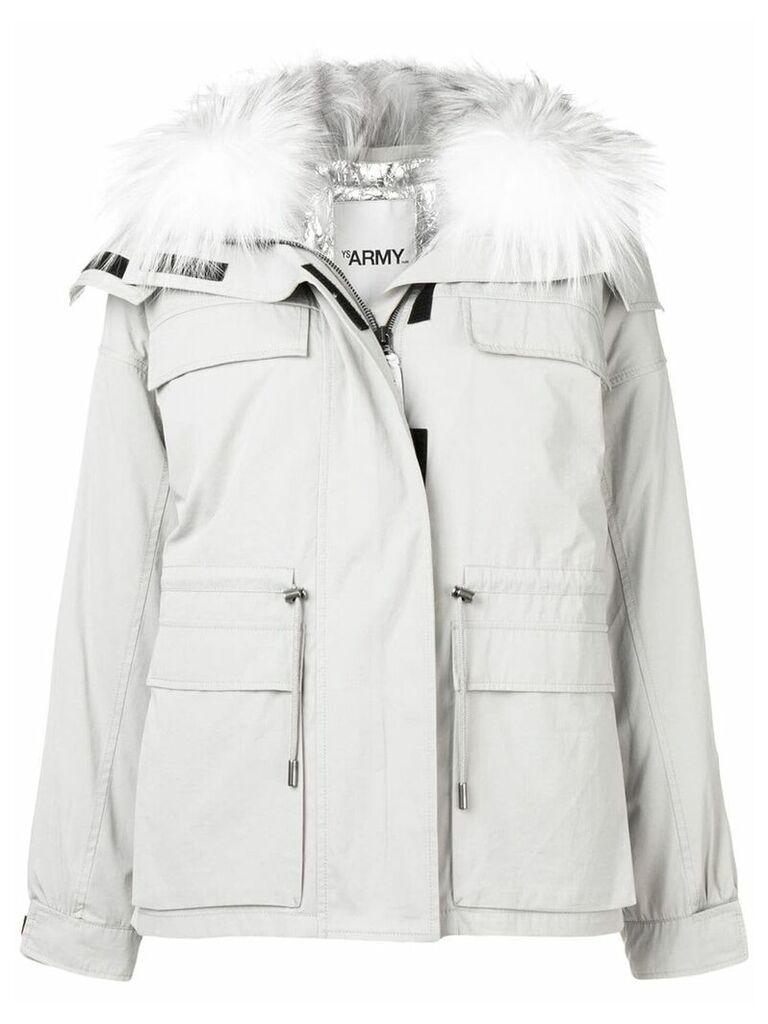 Yves Salomon fur collar puffer jacket - Grey