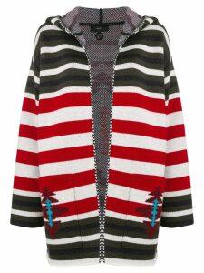 Alanui striped hooded cardigan - Red