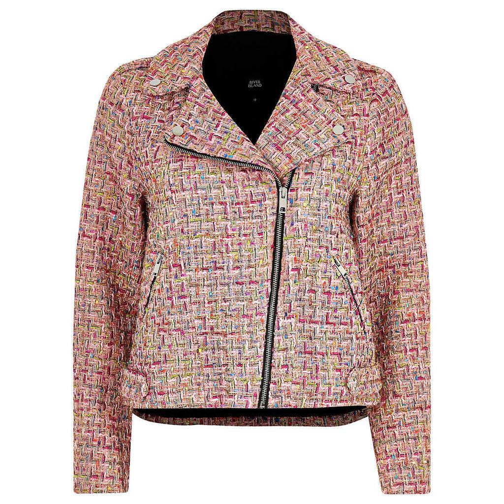 Womens Pink check boucle biker jacket