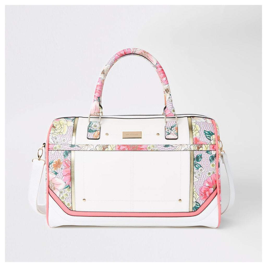 Womens Light Pink floral weekend bag