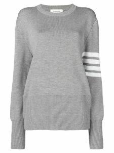 Thom Browne 4-Bar Milano Stitch Silk Pullover - Grey