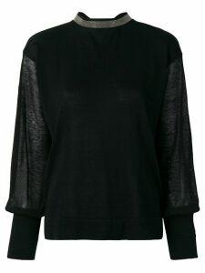 Fabiana Filippi sheer sleeve jumper - Black