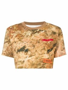 Heron Preston printed cropped T-shirt - Brown