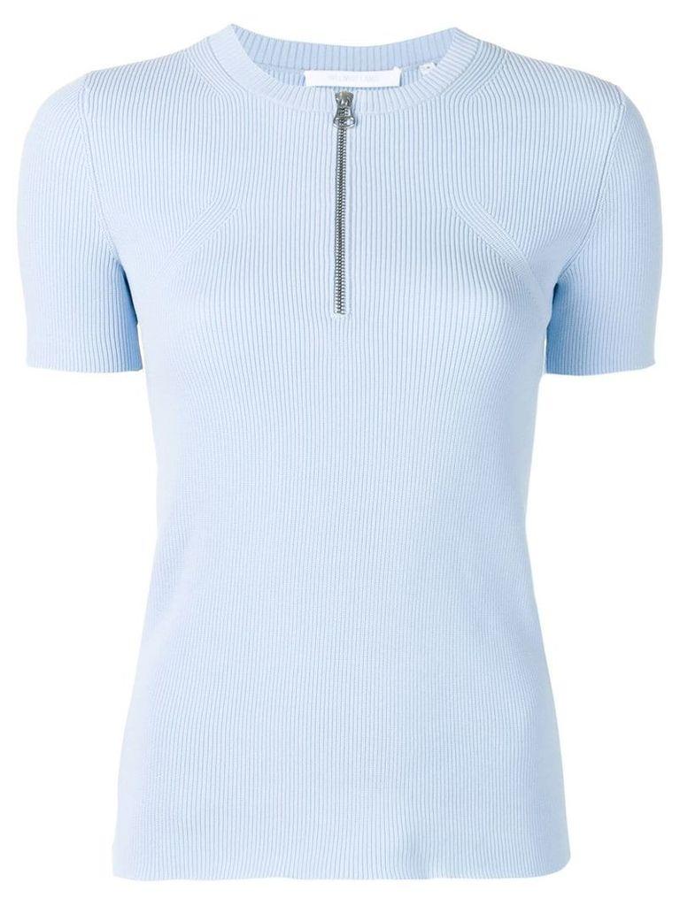 Helmut Lang zip front knit T-shirt - Blue