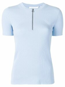 Helmut Lang zip front knit T-shirt - Blue