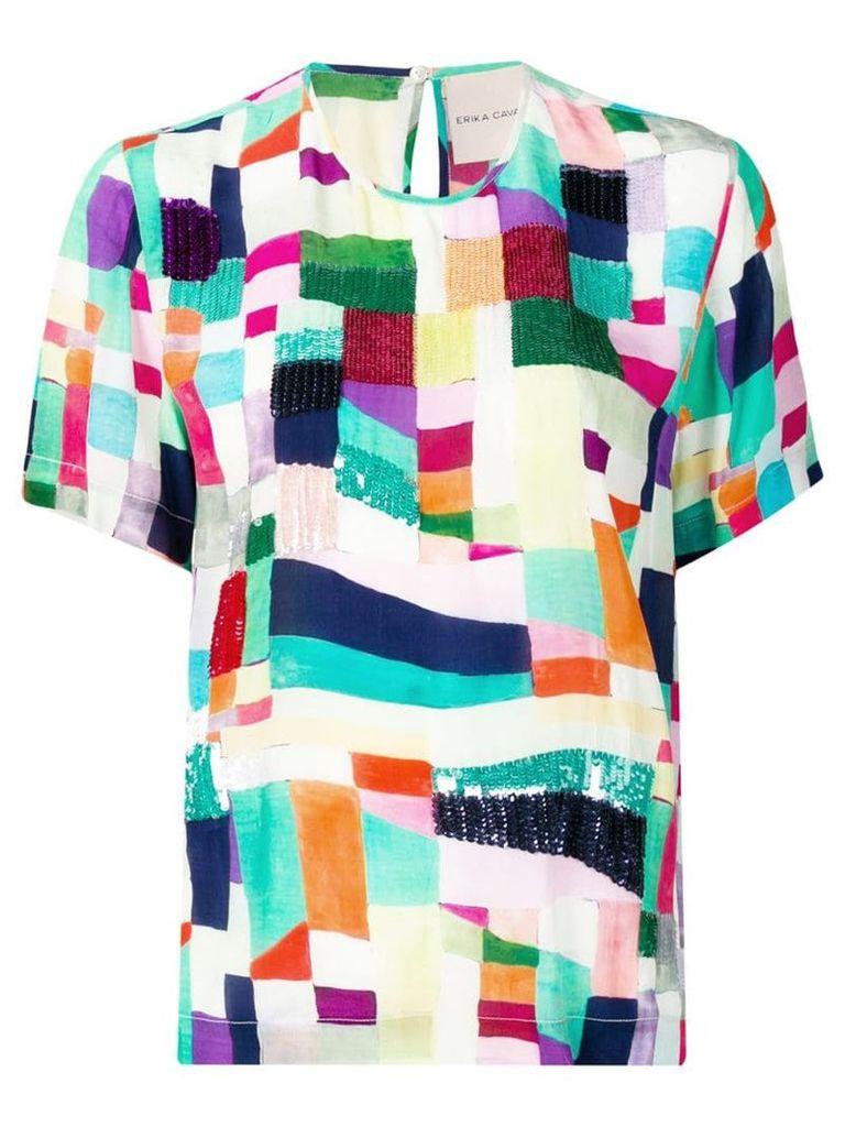Erika Cavallini geometric print T-shirt - Green