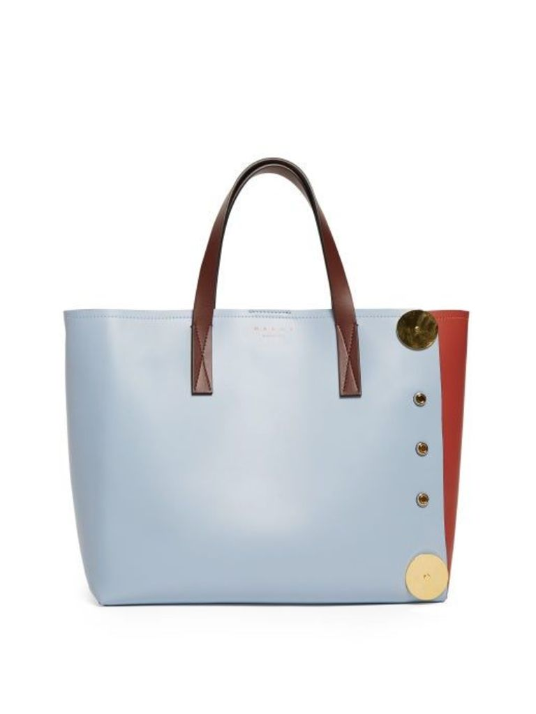 Marni - Punch Contrast Panel Leather Tote - Womens - Blue Multi