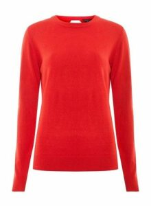 Womens Red Soft Wrap Back Jumper- Red, Red