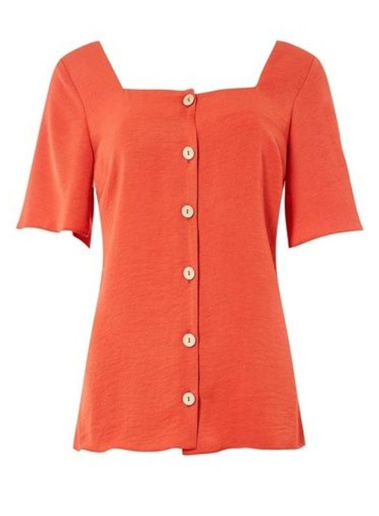Womens **Tall Rust Button Top- Red, Red