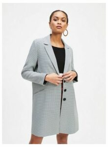 Womens Blue Check Print Topper Coat, BLUE