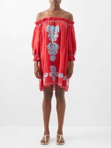 Mara Hoffman - Michelle Linen And Cotton Blend Dress - Womens - Blue Print
