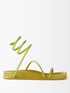 Innika Choo - Geometric Embroidered Smocked Linen Midi Dress - Womens - Light Blue
