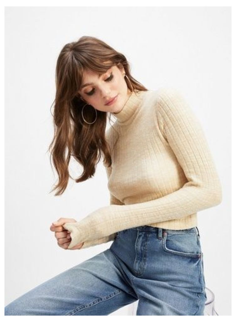Womens Camel Long Sleeve Brushed Rib Funnel Neck Top, CAMEL