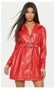 Red Faux Leather Belted Shirt Dress, Red