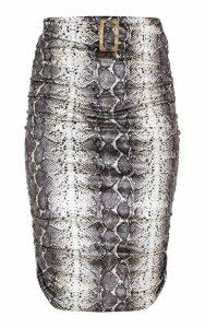 Grey Snake Print Velvet Belted Waist Midi Skirt, Grey