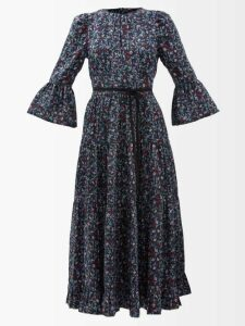 Haider Ackermann - Freesia Floral Print Quilted Single Breasted Coat - Womens - Black Multi